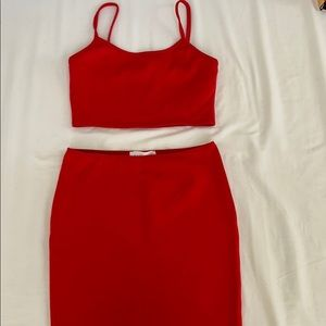 Red 2-piece skirt set